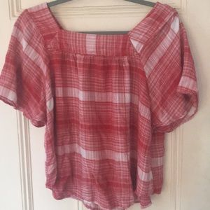 Women's red and white top